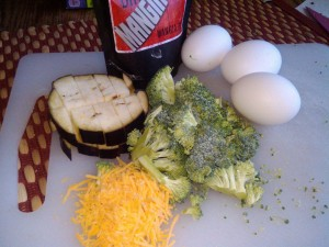 Cajun Scrambled Eggs with Eggplant and Broccoli